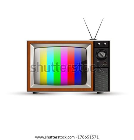vintage tv - stock vector