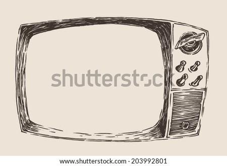 vintage TV engraved illustration, hand drawn, sketch - stock vector