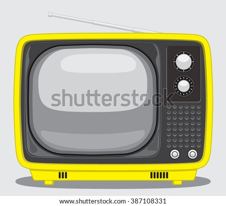 Vintage TV. Vector Illustration of a Vintage Yellow TV.