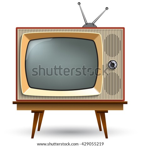 Vintage TV with stand on a white background. Realistic TV.Television with a gray screen.