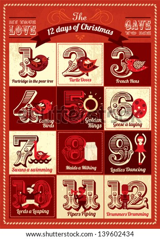 Vintage Twelve Days Christmas Calendar Template Stock Vector
