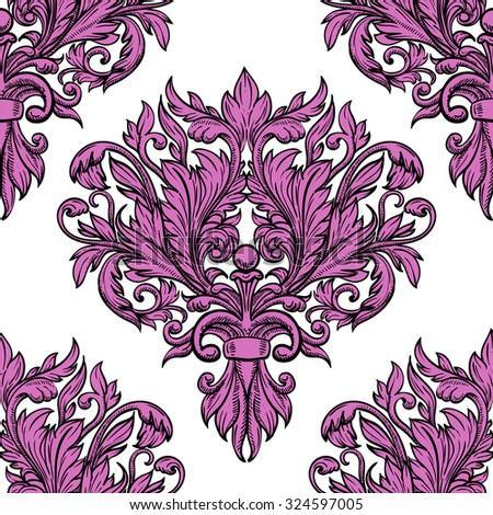 Vintage twisted pattern with beautiful ornament Damask patterns in retro style - stock vector