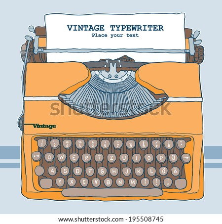 Vintage Typewriter vector illustration - stock vector