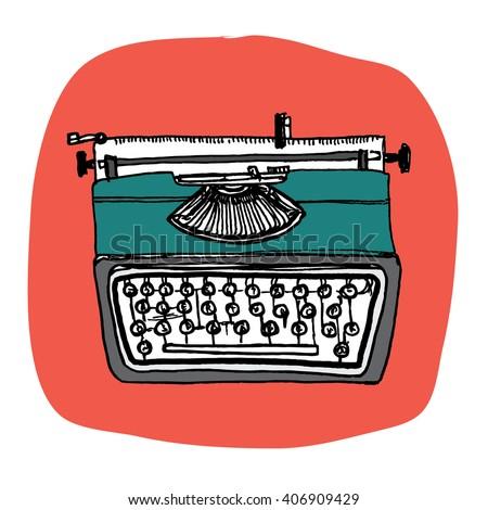 Vintage Typewriter (Vector Illustration) - stock vector