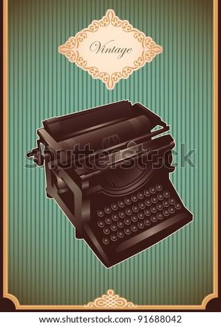 Vintage typewriting machine. Vector illustration. - stock vector