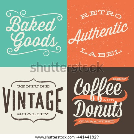 Vintage Typographic Labels - Set of retro label designs.  Colors are global and each design is grouped for easy editing.   - stock vector