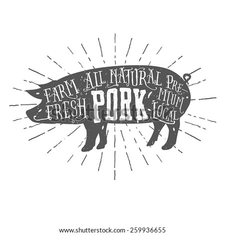 Vintage typographic premium pork meat label - stock vector
