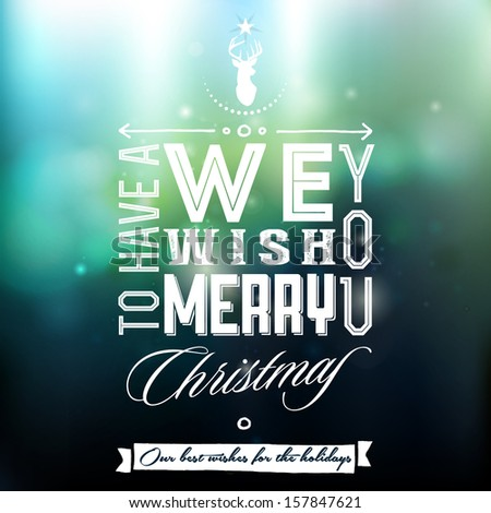 Vintage Typography Christmas Background_Editable EPS 10 vector - stock vector