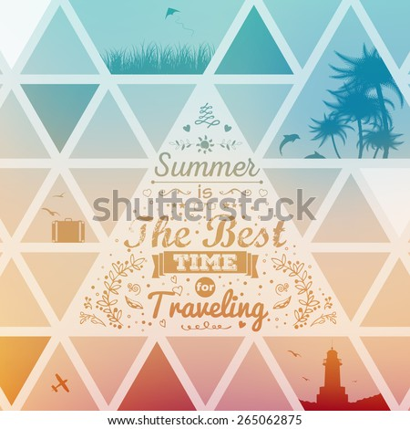 Vintage typography lettering  summer design with floral ornaments and patterns. Summer holidays and vacation. Triangle border. Modern flyer design. - stock vector