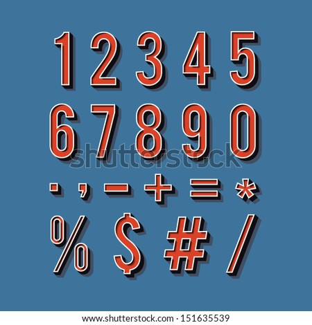Vintage typography. Set of retro numbers and symbols. Vector illustration. Alphabet numbers retro style - stock vector