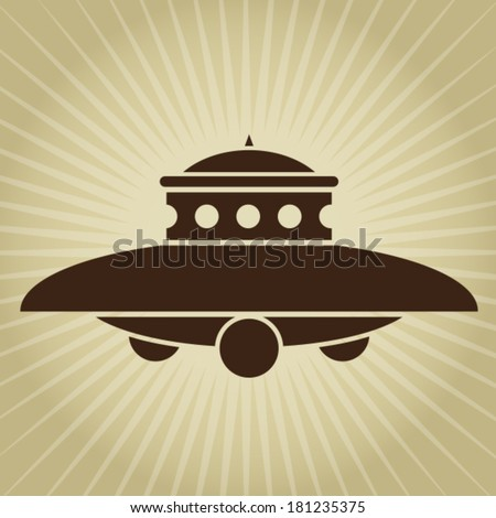 Vintage UFO Illustration - stock vector