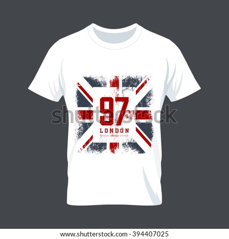 Vintage United Kingdom flag tee print vector design. Premium quality Great Britain superior number logo concept. London t-shirt wear mock up. - stock vector
