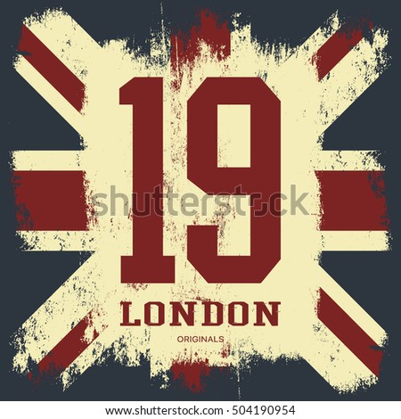 Vintage United Kingdom Of Great Britain And Northern Ireland Flag Tee Print Vector Design Grunge