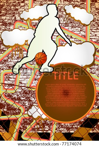 Vintage urban grunge background design with basketball player silhouette. Vector illustration. - stock vector