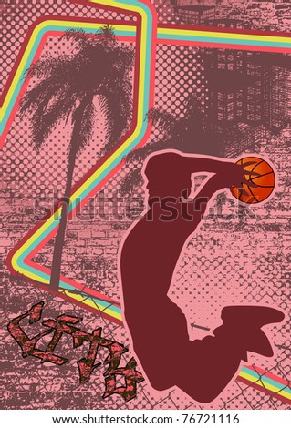 Vintage urban grunge background design with slamball silhouette. Vector illustration. - stock vector