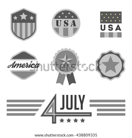 VIntage USA badges set. 4 July. Independence Day. Monochrome