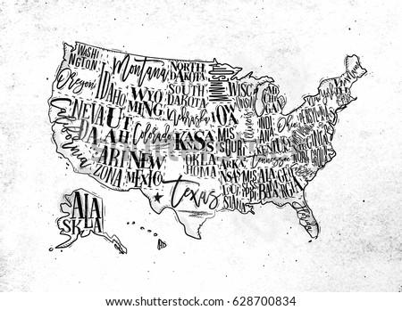 Vintage Usa Map States Inscription California Stock Vector 628700834