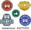 Vintage Used Car Stamp Designs - stock vector