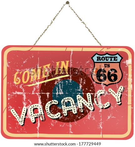 vintage vacation sign, route 66, vector illustration  - stock vector