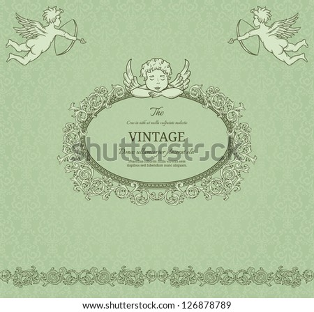 Vintage valentine background with cupids - stock vector