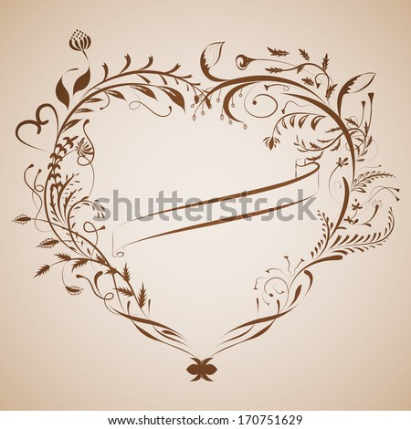 Vintage valentine card background with heart frame and ribbon - stock vector