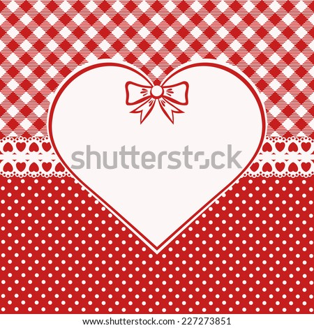 Vintage valentine card. Red and white background with checkered and polka dots. Scandinavian style. Vector illustration. - stock vector