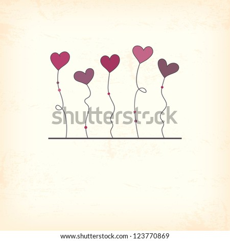 Vintage valentine card with hearts - stock vector
