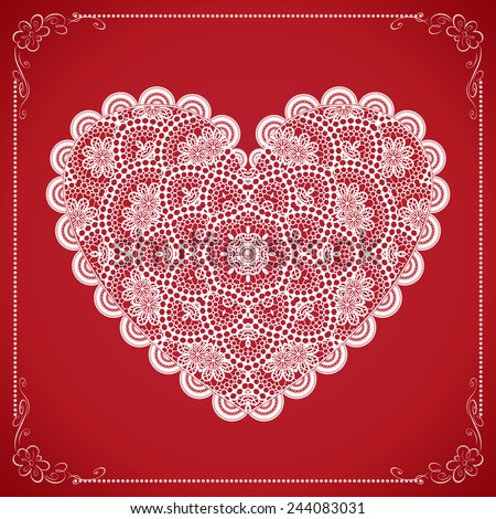 Vintage Valentine Card with White Lacy Heart. Vector Illustration. - stock vector