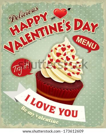Vintage Valentine cupcake poster design  - stock vector