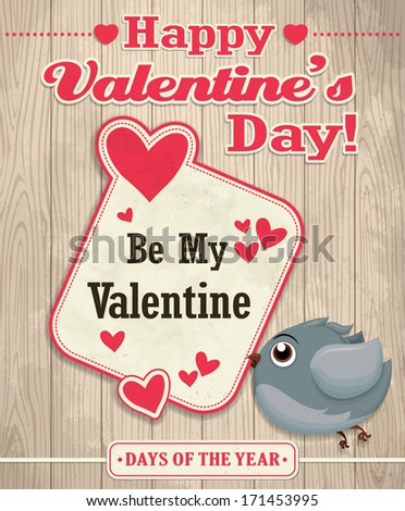 Vintage Valentine poster design with bird - stock vector