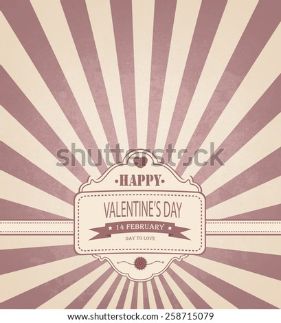 Vintage Valentine's Day Background With Title Inscription - stock vector