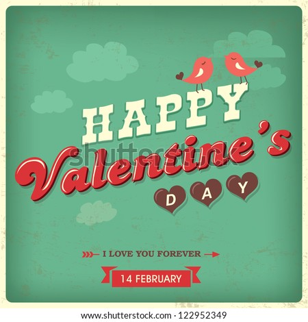 Vintage valentine's day background with typography - stock vector
