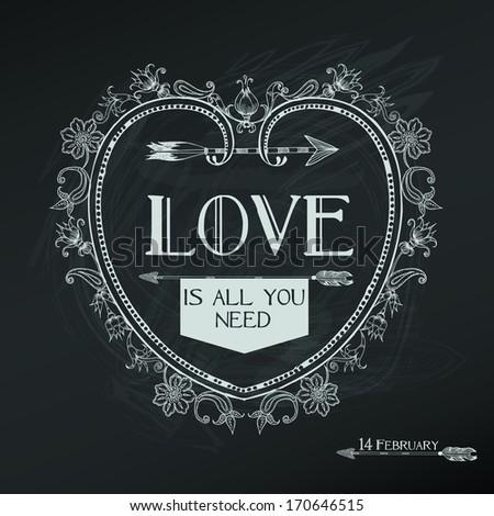 Vintage Valentine's Day Card Design - love, wedding - in vector - stock vector