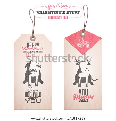 Vintage Valentine's day gift tags. Also available as raster JPG image. - stock vector