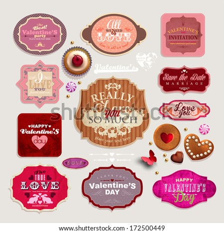 Vintage Valentine's set of grunge stickers, labels and tags decorated with cookies? cupcakes and candies - stock vector