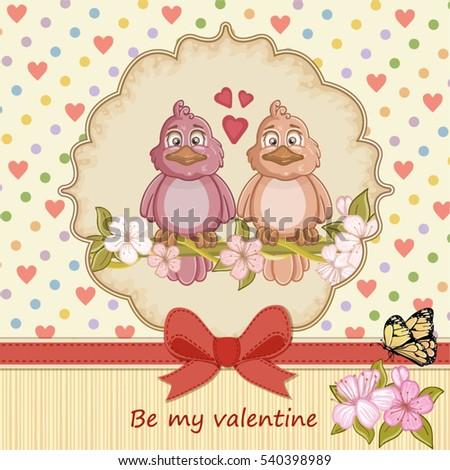 Vintage Valentines day card with two birds love and hearts background