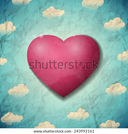 Vintage Valentines Day crumpled card with clouds and purple heart - stock vector