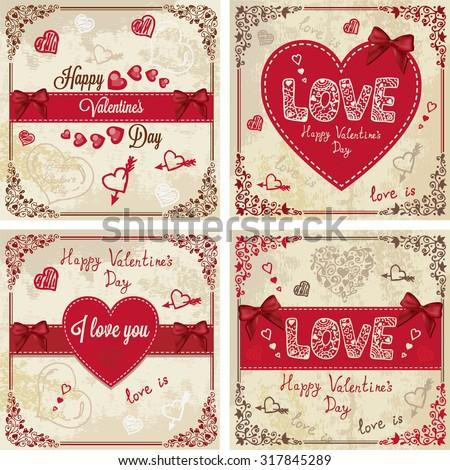 Vintage Valentines Day Design. Vector Illustration set for your design. - stock vector