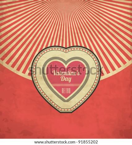 Vintage Valentines Day Flyer Design - stock vector
