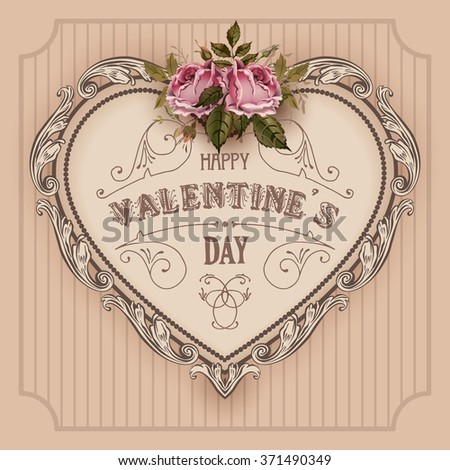 Vintage Valentines Day greeting card With Vintage Roses and Heart - stock vector