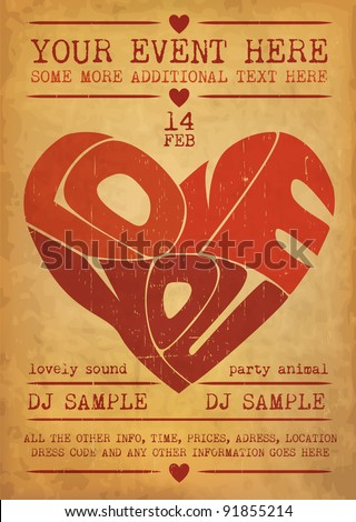 Vintage Valentines Day Party Flyer Design - stock vector