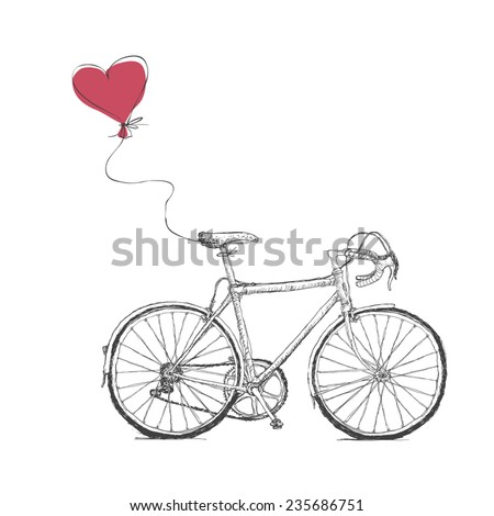 Vintage Valentines Illustration with Bicycle and Heart Baloon - stock vector