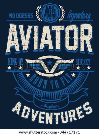Vintage Vector Airplane, aviator, typography design for tee - stock vector