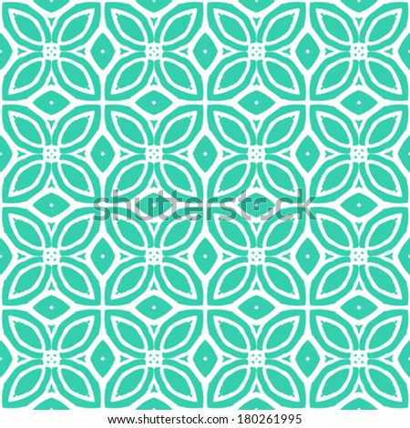 Vintage vector art deco pattern with 1970s motifs in tropical blue and white colors. Seamless texture for print; wallpaper; wedding invitation or website background; spring, summer or fall fashion - stock vector