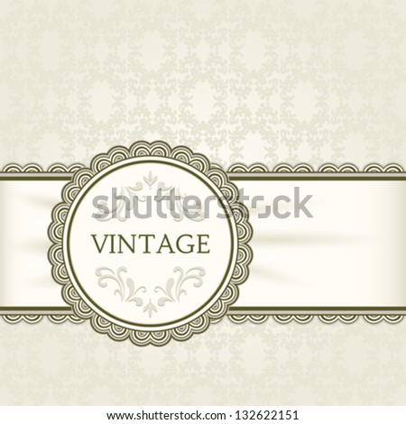 Vintage vector  background, ornamental round frame and ribbon over seamless pattern, eps10 - stock vector