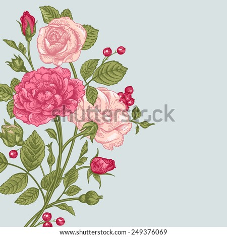 Vintage vector background with a bouquet of roses. - stock vector