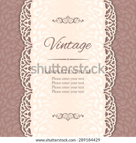 Vintage vector background with cutout lace borders. EPS 10 - stock vector