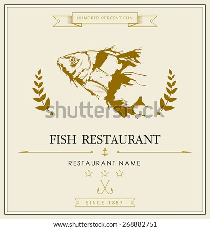 Vintage vector blackboard fish restaurant menu card - stock vector