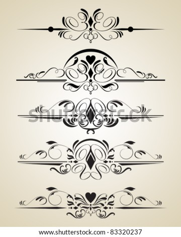 Vintage vector calligraphic set - stock vector