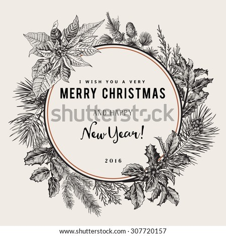 Vintage Vector Card I Wish You A Very Merry Christmas And Happy New Year